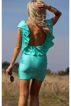 Tiffany blue open back dress