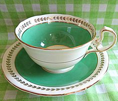 Adorable Aynsley Green Teacup by RoyalRummage on Etsy, $10.00 Tea Cozy, Art Deco Era, Teacup, Homemade, Antiques, Tableware, Green, How To Make, Etsy