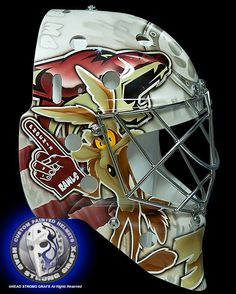 Phoenix Coyotes prospect Chris Rawlings is a fan of Wile E. Judging by the goaltender's new mask, the feeling is mutual. Hockey Logos, Hockey Goalie, Ice Hockey, Hockey Players, Montreal Canadiens, Nhl, Coyotes Hockey, Phoenix Coyotes, Japanese Tattoo Symbols