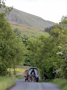 traditional gypsy caravans on their way to Appleby Horse Fair