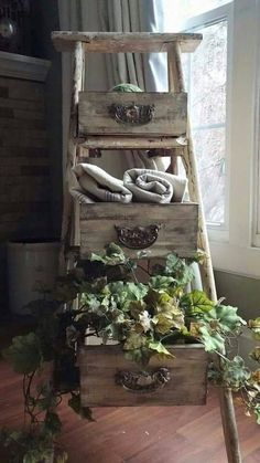 Turn an Old Ladder & Old Drawers into Shelves.these are the BEST Upcycled & Repurposed ideas! Turn an Old Ladder & Old Drawers into Shelves.these are the BEST Upcycled & Repurposed ideas! Rustic Decor, Farmhouse Decor, Antique Decor, Farmhouse Furniture, Vintage Farmhouse, Rustic Chic, Rustic Furniture, Modern Farmhouse, Old Drawers