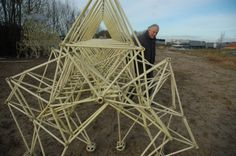 Theo JANSEN /// Standing with one of his Stranded Beast / Cinetic wind powered sculpture