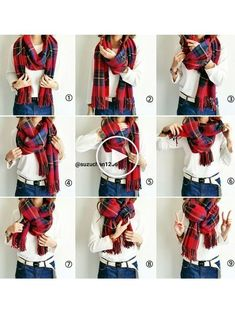Ayumi│ コ ー デ ィ ネ ー ト Others Looks Blanket Scarf Outfit, How To Wear A Blanket Scarf, Ways To Wear A Scarf, How To Wear Scarves, Tie A Scarf, Scarf Tying Blanket, Wearing Scarves, Scarf Top, Look Fashion
