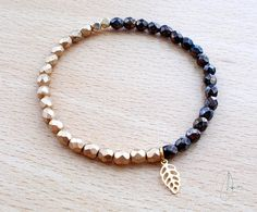 Thin Gold Bronze Beaded Stretch Bracelet  16K by DharaJewellery, £8.50