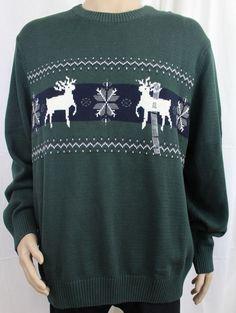 Dockers Green Crewneck Ski Sweater with Deer and Snowflakes XXL  #DOCKERS #Crewneck