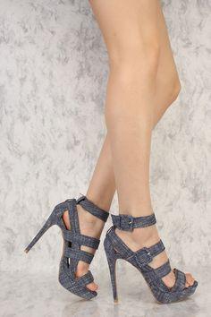 Sexy Navy White Strappy Open Toe High Heels Platform Fabric #platformhighheelswhite