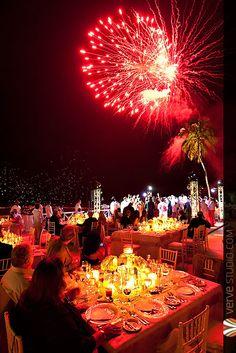 Spectacular Fireworks for the wedding reception at the Casa De Campo Beach Resort.  Lush beautiful Dominican Republic Wedding Photography by Matt and Krystal Radlinski of Verve Studio.  http://www.vervestudio.com
