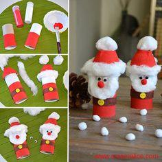 DIY Paper Roll Snowmen
