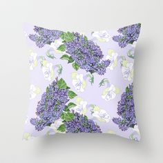 Lilac and white flowers Throw Pillow by nataliapiacheva - $20.00