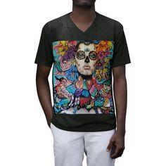Men's Day of the dead Tri-Blend V-Neck T-Shirt Men's Day, Day Of The Dead, Summer Days, Hanging Out, Men Fashion, Lazy, V Neck T Shirt, Colour, Night