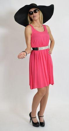 Pink Tank Dress, Black Floppy Beach Hat, Kentucky Derby Fashion, Summer Fashion, www.threeclothing.com