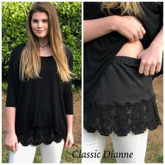 Shirt Extender Black Crochet Lace up black Shirt Extender White Double Scalloped Lace Diy Fashion, Ideias Fashion, Shirt Extender, Diy Vetement, Altering Clothes, Clothing Hacks, Lace Tops, Sewing Clothes, Crochet Lace