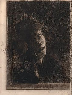 'La Muse Accoudée' (The Leaning Muse) | Albert Besnard, etching | {Found on a board titled 'Chiaroscurocurioso'} ※