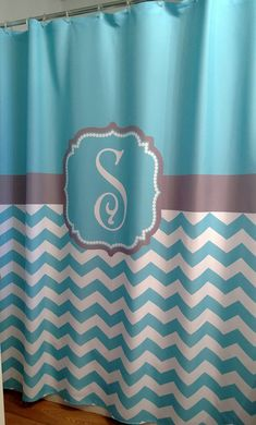 Shower Curtain Chevron- YOU CHOOSE COLORS. 72, 78, 84, 90 or 96 inch Standard or Extra Long Custom Monogram Personalized for Your Bathroom on Etsy.