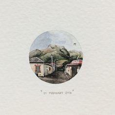 Day 51 : Woodstock. 27 x 27 mm. #365postcardsforants #miniature #watercolor #wdc624 #woodstock #capetown