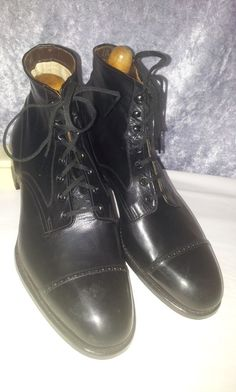 NOS DEAD STOCK 1920 30s CARLTON US 9.5 E ANTIQUE VTG mens BOOTS SPADE SOLE  shoes