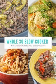 Slow Cooker Recipes - Can be easily adapted for Whole 30 also works for gluten-free, refined sugar free, and Paleo diets - all healthy with nutritional info and PointsPlus Crock Pot Recipes, Crock Pot Cooking, Slow Cooker Recipes, Cooking Recipes, Whole 30 Crockpot Recipes, Kitchen Recipes, Meal Recipes, Crockpot Meals, Cooking Pork