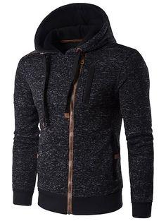 Hooded Oblique Zip-Up Edging Design Hoodie