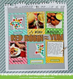Lawn Fawn - Let's Polka 12x12 paper, Clark's ABCs, Say Cheese Lawn Cuts die, Hello Sunshine 12x12 paper _ colorful scrapbook layout by Melissa for Lawn Fawn Design Team