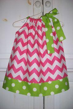 Pillowcase Dress CHEVRON and DOTS Pink Lime @Riley Blake