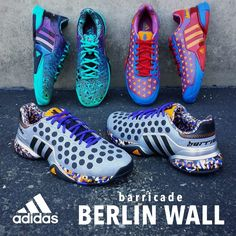 """Collect all 3 Special Edition Barricades @ Towpath Tennis Shop - Adidas Barricade Berlin Wall Men's Tennis Shoe (949), Call or Message us to place an order! <a href=""""tel:330.928.8763"""">330.928.8763</a> (http://www.towpathtennisshop.com/adidas-barricade-berlin-wall-mens-tennis-shoe-949/)"""