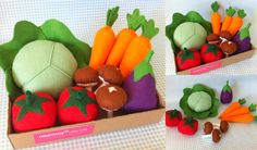 Pretend Play Felt Food Garden Vegetable Box by mummymadeitme, Felt Diy, Handmade Felt, Felt Crafts, Diy Crafts, Pretend Food, Pretend Play, Vegetable Boxes, Felt Fruit, Felt Cake