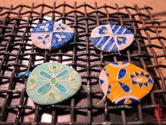 Based on Ukrainian Easter eggs motifs. Hot nemal before firing. Photo: smallthingscount. Colour solution: smallthingscount