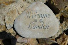 Engraved rock sand blasted rock garden decor by AGardenrocks, $70.00