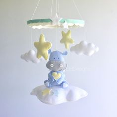Baby mobile - baby crib mobile - cloud mobile - hippo mobile - baby boy mobile - clouds baby mobile - neutral mobile by GiseleBlakerDesigns on Etsy https://www.etsy.com/listing/511570056/baby-mobile-baby-crib-mobile-cloud