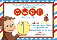 Curious George Birthday Invitation / Printable / First Birthday on Etsy, $10.00