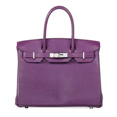 A Violet Leather Birkin Bag, Hermès, 2005 Hermes Handbags, Purses And Handbags, Luxury Bags, Luxury Handbags, Hermes Birkin, Birkin Bags, Vintage Couture, Purple Leather, Handbag Accessories