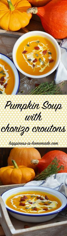 Soup Maker Recipe: Pumpkin Soup, delicious and smooth with carrot, sweet potato and chorizo croutons! Happiness in a bowl!