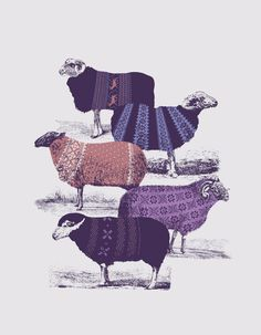 """""""Cool Sweaters"""" Art Print by Jacques Maes on // purple sheep art Art And Illustration, Illustrations, Art Design, Graphic Design, Wooly Jumper, Sheep Art, Sheep Wool, Kunst Online, Modern Artwork"""