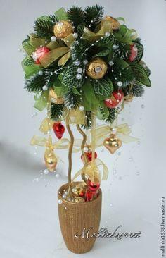 """Новогодний подарок, топиарий, дерево счастья """"Красное золото"""" - ярко-красный"""