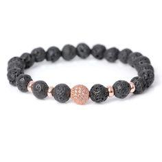 Disco Ball Cubic Zirconia Lava Stone Beaded Bracelet