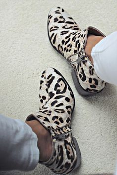 Leopard touch print side zip shoes fashion