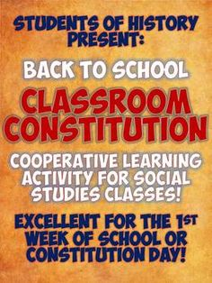 Back to School Class Constitution Group Activity - great for establishing rules and procedures for you classroom!