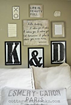 Gallery wall with DIY large, oversized letters #diy #how-to