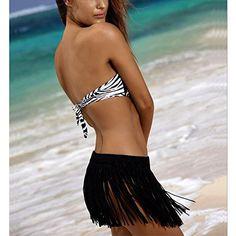 c3d45bfc782c1 CHICFOR Womens Sexy Summer Elastic Waist Crochet Tassel Fringe Beach Bikini  Bottom Cover Up Mini Skirt