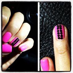#Pink Nail Polish with black #rhinestones <3 #nailart