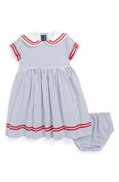 Oscar de la Renta Seersucker Sailor Dress (Baby Girls) available at #Nordstrom