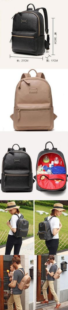 COLORLAND Leather Backpack baby diaper bag nappy bags Maternity mommy mummy Changing Bag wet infant for babies care organizer $42.98