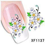 Nail Art Water Transfer Stickers Cool Color Flower - XF1137 Nail Sticker Tattoo - FashionDancing