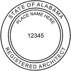 Here's a snapshot of our set up for Alabama Architects. Alabama requires us to create wet and dry seals for their architects that are 2 in diameter. They also require the licensee's name within the inner circle of the seal.