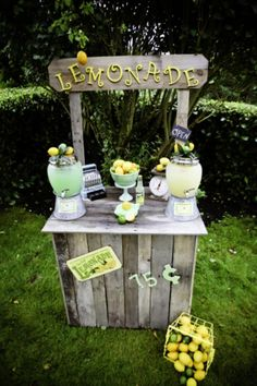 Lemonade stand at a Lemon Lime Birthday Party via Kara's Party Ideas Decoration Buffet, Pink Lemonade, Lemonade Sign, Lemonade Stands, Lemon Party, Fruit Stands, Drink Dispenser, Vintage Party, Lemon Lime