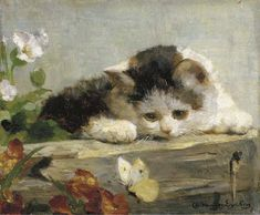 This artist has painted many pictures featuring cats, this is one of them. A Difficult Catch, Charles Van den Eycken Private Collection kittens in art Image Chat, Old Paintings, Classical Art, Vintage Cat, Renaissance Art, Pretty Art, Aesthetic Art, Cat Art, Art Inspo
