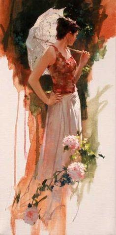 """Sunlit Garden"" by Richard S Johnson - 20 x 10 Original Oil on Canvas......."