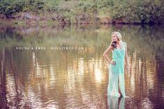 Senior girl pose in lake