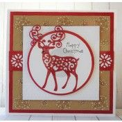 Scandinavian Deer on Snowflake Background by Sue Hobbs