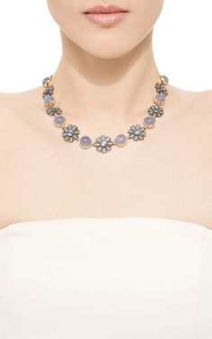 One Of A Kind Chalcedony And Blue Sapphire Collar Necklace by Arman Sarkisyan for Preorder on Moda Operandi